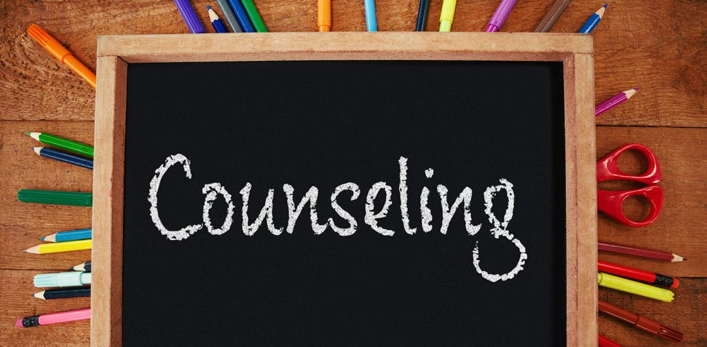 The word COUNSELING written on a chalkboard