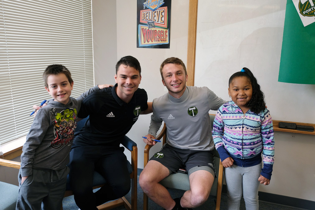 Hallman Students with Timbers U23 Players